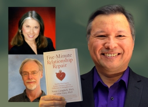 "Tom Marcoux holds up the book ""Five-Minute Relationship Repair"" by Dr. Susan Campbell and Dr. John Grey"