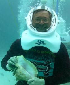 Tom Marcoux enjoys helmet diving, walking on the ocean's floor.