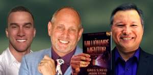 "Tom Marcoux holds the book ""The Millionaire Mentor"" co-authored by Greg S. Reid and Jason Stone"