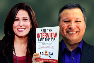 "Tom Marcoux holds the book ""Nail the Interview, Land the Job"" by Michelle Tillis Lederman"