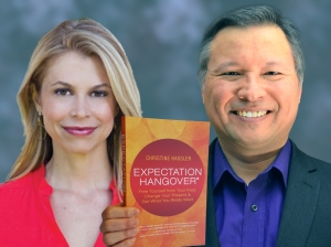 "Tom Marcoux holds Christine Hassler 's book ""Expectation Hangover"""