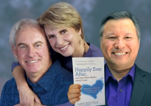 "Tom Marcoux holds up Linda and Charlie Bloom 's book ""Happily Ever After ... and 39 Other Myths about Love"""